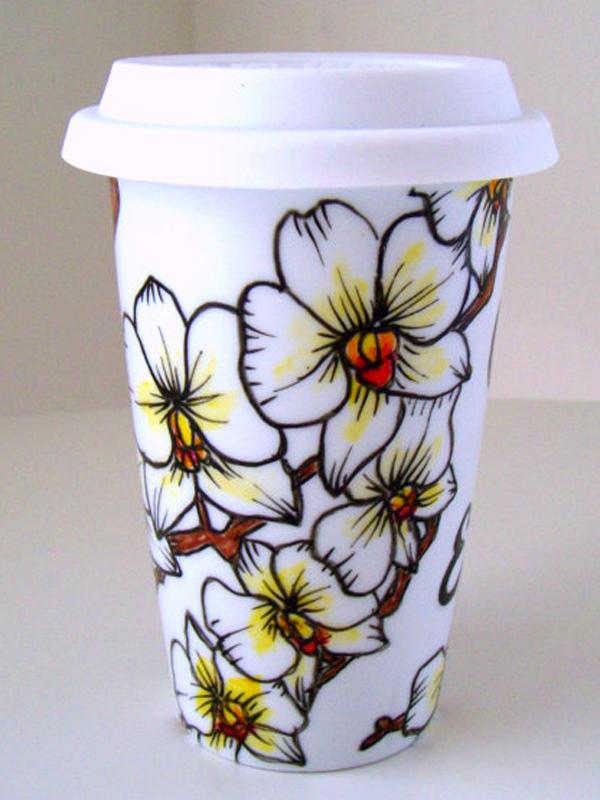 Porseleinen koffiebeker met Phalaenopsistekening van sewZinski via Etsy